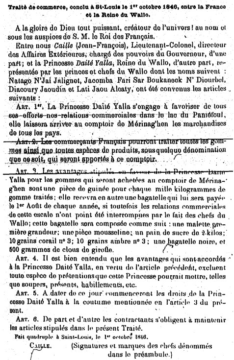 Traité de commerce, conclu à Saint-Louis le 1er octobre 1846, entre la France et la Reine du Wallo